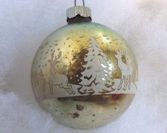 Vintage Shiny Brite ornament, Christmas ornament, reindeer ornament, stencil ornament, mercury glass, seafoam aqua gold