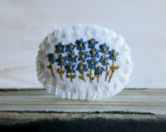Hand Embroidered Brooch, Handmade Jewelry, Blue Floral Pin, Ooak Jewelry, Gift For Her, Under 40 Gift, Ready To Ship, Floral Embroidery Pin