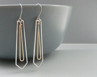 Silver Triangle Earrings with Gold Teardrop - mixed metal geometric jewelry, math teacher or engineer gifts - Lg
