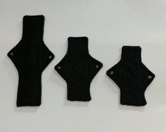3pc cloth pad starter set, BLACK, minky, light, moderate, super, made on order, choose length, fleece backed, square shape,starter pack