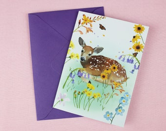 Fawn Card / Wedding Card / Easter Card / Cute Card / Baby Shower card / New Baby card / Fawn Print / Baby animal print / Spring card