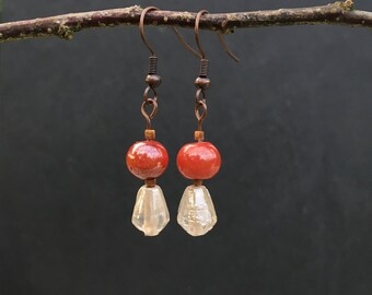 Copper and glass handmade drop earrings