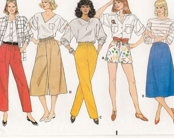 "A Shorts, Tapered Pants, A-Line Skirt and Culottes Easy Sewing Pattern for Women: Uncut - Sizes 8-10-12, Waist 24""-26-1/2"" • Butterick 3068"