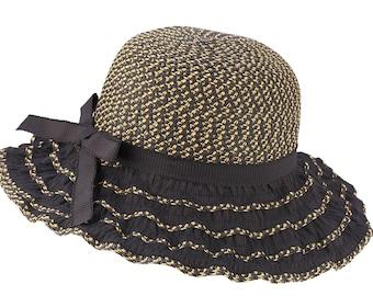 Sun Styles Women's Paper-Poly Ruffled Brim Sun Bonnet AH-030