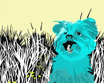 Graphic Art Piece Terrier Dog Colourful Print Retro-style