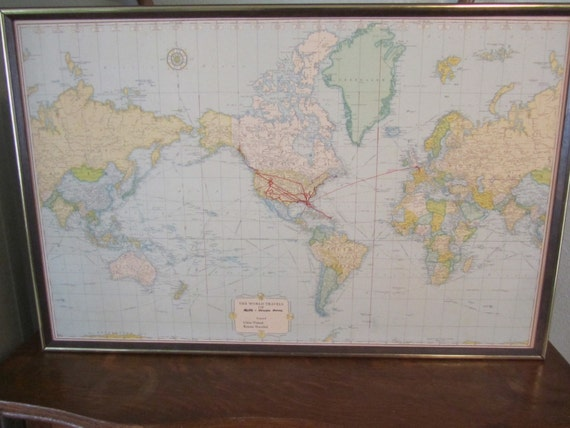 Vintage rand mcnally world map world travel mapframed board world vintage rand mcnally world map world travel mapframed board world map vintage map from karenschicnshabby on etsy studio gumiabroncs Image collections