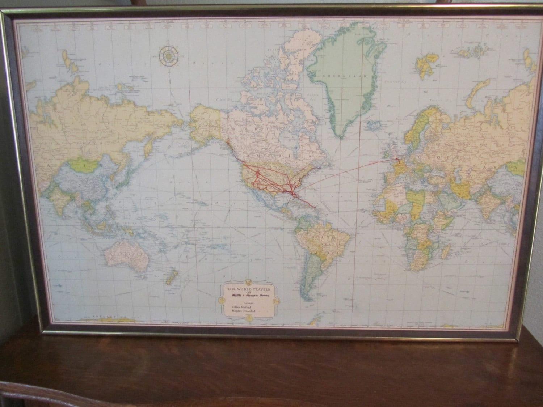 Vintage Rand McNally world map. World travel map,Framed board world ...