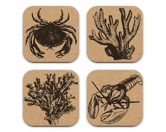 CRAB CORAL LOBSTER Nautical Coastal Cork Coaster Set Of 4 Home Decor Barware Decoration