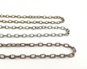 Oval Chain, Link Chain, Steel Chain, Cable Chain, Antique Silver, Antique Bronze, Antique Copper, 5 Meters, 16ft, Bulk, Wholesale, RN