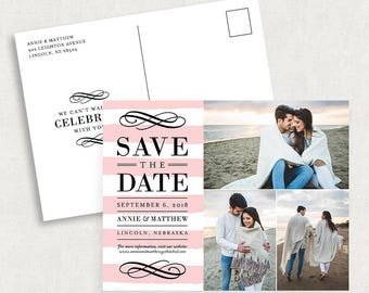Postcard Save the Dates, Photo Save the Dates, Photo Postcard Save the Dates, Pink Save the Dates, Stripe Save the Dates, Printed Cards