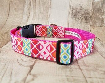 Gorgeous Dog collar in our Retro design, 1inch wide.. available in various sizes, made to order.