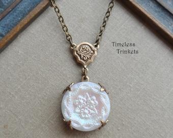Vintage Button Necklace, Czech Glass, Three Flower Design, White Iridescent, Antique Brass, Timeless Trinkets