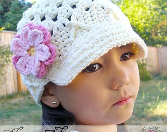 Toddler Girls Ivory Newsboy Hat, 12-24 Months Crochet Newsboy, Childrens Hat, Hat with Flowers, Hat with Brim, Winter Newsboy, Spring Hat