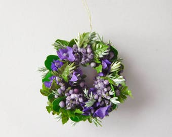 Cute Miniature Wreath in Shades of Purples and Greens, 12th Scale