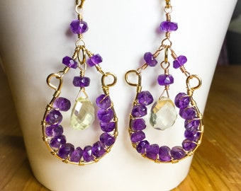 Amethyst and lemon quartz earrings