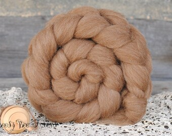 Undyed Natural Brown MANX LOAGHTAN Combed Top Wool Roving Spinning Felting fiber - 4 oz