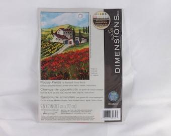 Poppy Fields Stamped Cross Stitch Kit - Dimensions
