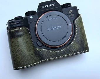Premium Edition Sony A9 A73 A7R3 A7RIII Handmade Cowhide leather hand stitch Half Case Holster sleeve Camera bag Protector Made to Order