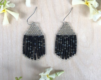 Handwoven beaded earrings, crystal and brown-black