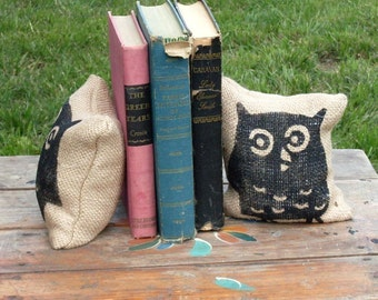 Owl -- Petit  Burlap Feed Sack Pillow Pair - Unique paper weight, bookends, pin cushion, etc - Owl Bookends