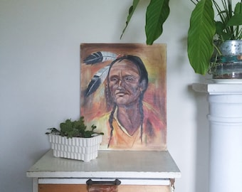 SALE / Vintage Signed Oil on Canvas Native American Indian Painting for Home Decor or Prop Display