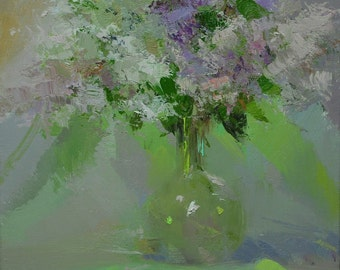 Green flower painting, Lilacs oil painting, Lilac green canvas art, modern wall art contemporary painting