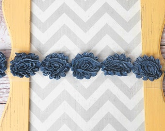 Denim  shabby flower trim by the yard, denim blue shabby rose trim, wholesale flower trim, shabby trim, chiffon trim, flowers by the yard