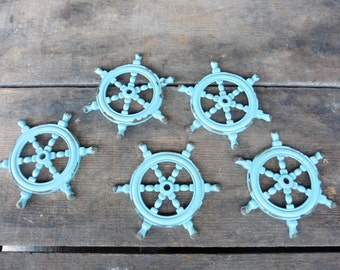 Teal Blue Ship Boat Wheel Knob BASE - Nautical Sea Ocean Home Decor - Metal - Craft DIY