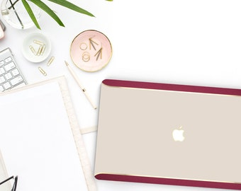 Macbook Pro 13 Case Macbook Air Case Laptop Case Macbook Case . Ash White . Gold Chrome . Burgundy Velvet Edge - Platinum