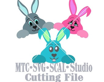 SVG Cut File Easter Bunny Set #1 Bundle of 3 Scrapbooking  MTC SCAL Cricut Silhouette Cutting File