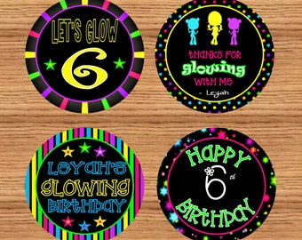Printable party do it yourself etsy glow party favor tags personalized printableglow party 2 circles glow party cupcake toppers glow party stickersdo it yourself solutioingenieria Images