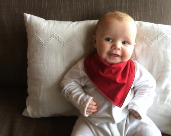 Bandana Bib | Red Baby Bib | Minimal Baby | Baby Girl Baby Boy | Drool Bib | Kerchief Bib | Red | Simple Minimal Baby