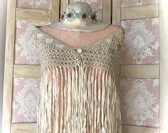 Stunning Antique Hand Lace Shawl With Long Fringe and Victorian Details