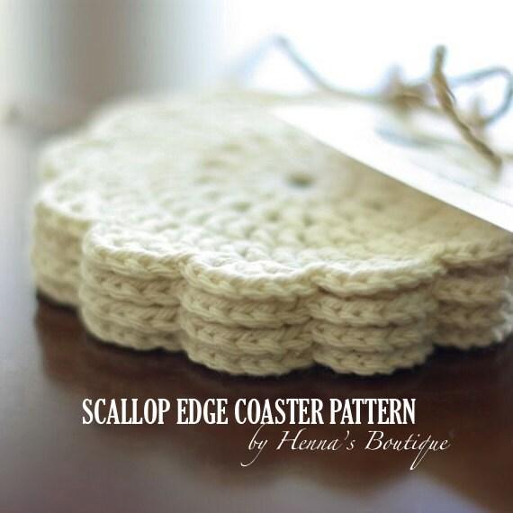 Crochet Coaster Pattern Scallop Edge Coasters Pdf