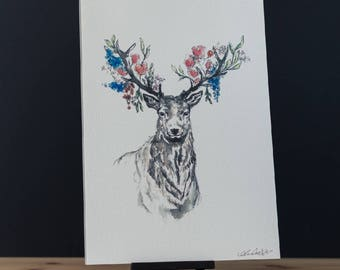Floral stag print