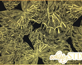 Gold Butterfly Fabric By the Yard Fabric, LUX by Timeless Treasures of SoHo CM9689, BTY Black Gold Metallic Quilting Material, Hard to Find