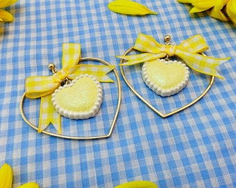 Hand-painted Heart Shaped Hoop Earrings-Yellow Gingham Bow Heart Drop Earrings-Kawaii Larme Kei Heart Earrings with Bow-Summer Picnic Studs