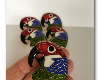Colorful Enamel Parrot Pin - Brooch - Craft Accessory