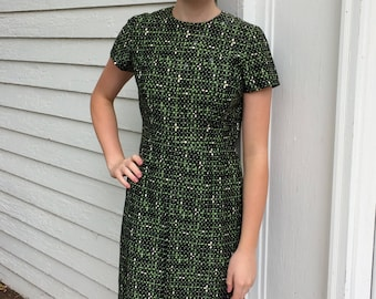 50s Black Green Print Dress Vintage M S AS IS