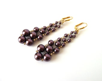 Burgundy and Gold Beaded Dangle Earrings, Swarovski Pearl Earrings, Bead Woven Jewelry, Costume Jewelry, Prom Jewelry, Mother of the Bride
