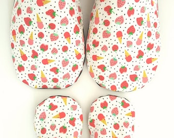Strawberry Mommy & Me Moccs/ Baby Moccs / Sibling Moccs / Baby Moccasins / Mommy and Me / Mother Daughter / Mother Son / Waldorf  Montessori