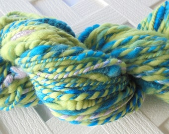UNDER THE SEA Handspun Art Yarn, 2-Ply Yarn, Knitting Yarn, Soft Merino Wool Yarn, Bulky Yarn, Alpaca Yarn, Silk Yarn Bulky Handspun