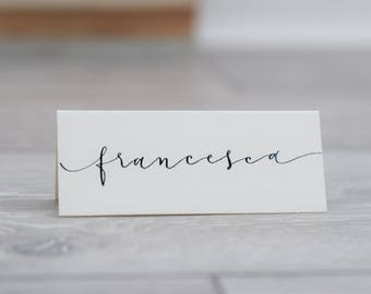 Handwritten Wedding Place Cards - Black Calligraphy on Ivory.