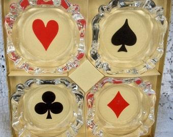 1960 Galaxy Cutler Toronto Crystal Playing Card Ashtray Set of 4