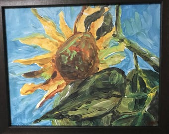 Sunflower Original Artwork Acrylic Still Life