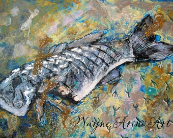 Circle of Life Original Mixed Media Expressionist 20x24 Fish Painting by Michigan Artist