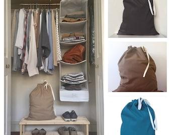 LAUNDRY BAG - 4 sizes - cotton laundry bag, drawstring laundry bag, natural laundry bag