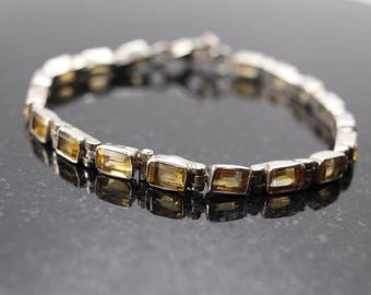 "Vintage Citrine Bracelet, 7"" long, Sterling silver Citrine Tennis Bracelet, November birthstone, 13th anniversary gift, estate jewelry"