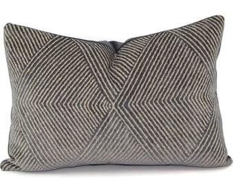 Charcoal & Light Gray Chevron Chenille Lumbar Throw Pillow Cover, 11.5x17