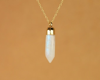 Moonstone necklace - rainbow moonstone - gold moonstone - blue flash - a gold dipped moonstone spike on a 14k gold vermeil chain